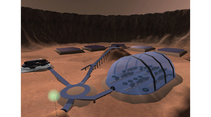 Screen capture of the Mars colony from the educational astronomy video game.