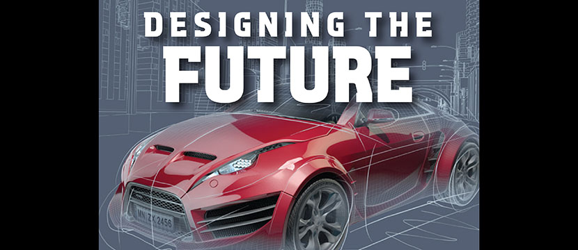 Designing the Future Logo- a stylized car on a sketch board