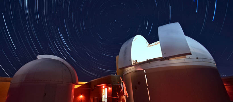 Stars swirling around domes at Davey Lab