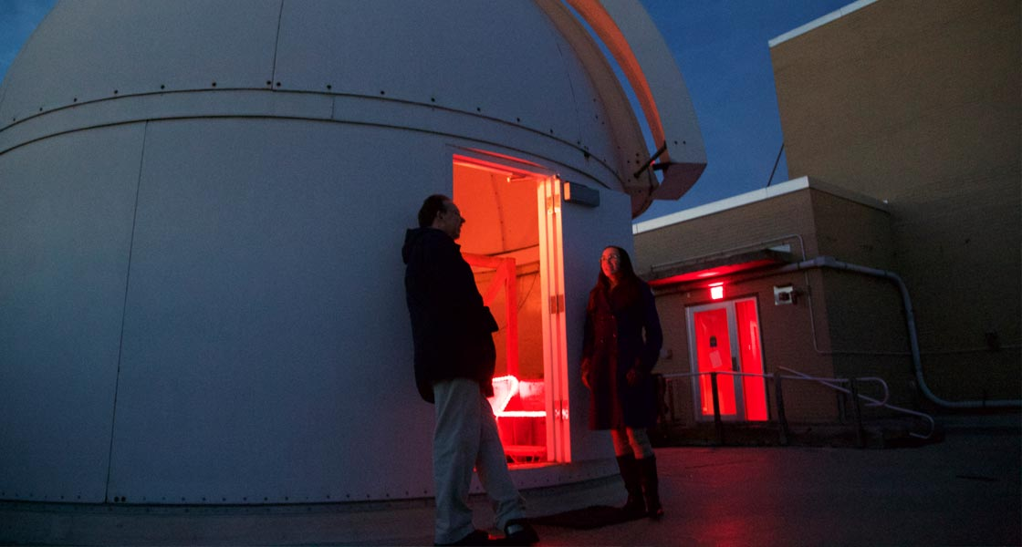 The observatory at night on the roof of Davey Laboratory.