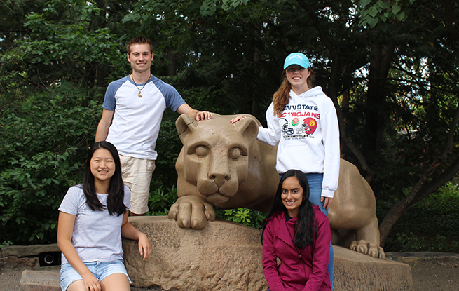 Students in the Biochemistry Society at the Lion Shrine