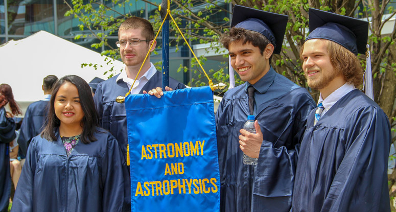 Astronomy and Astrophysics students at the Eberly College of Science commencement reception.
