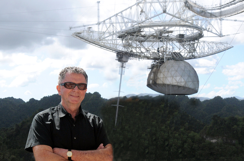 alex wolszczan standing in front of radio telescope