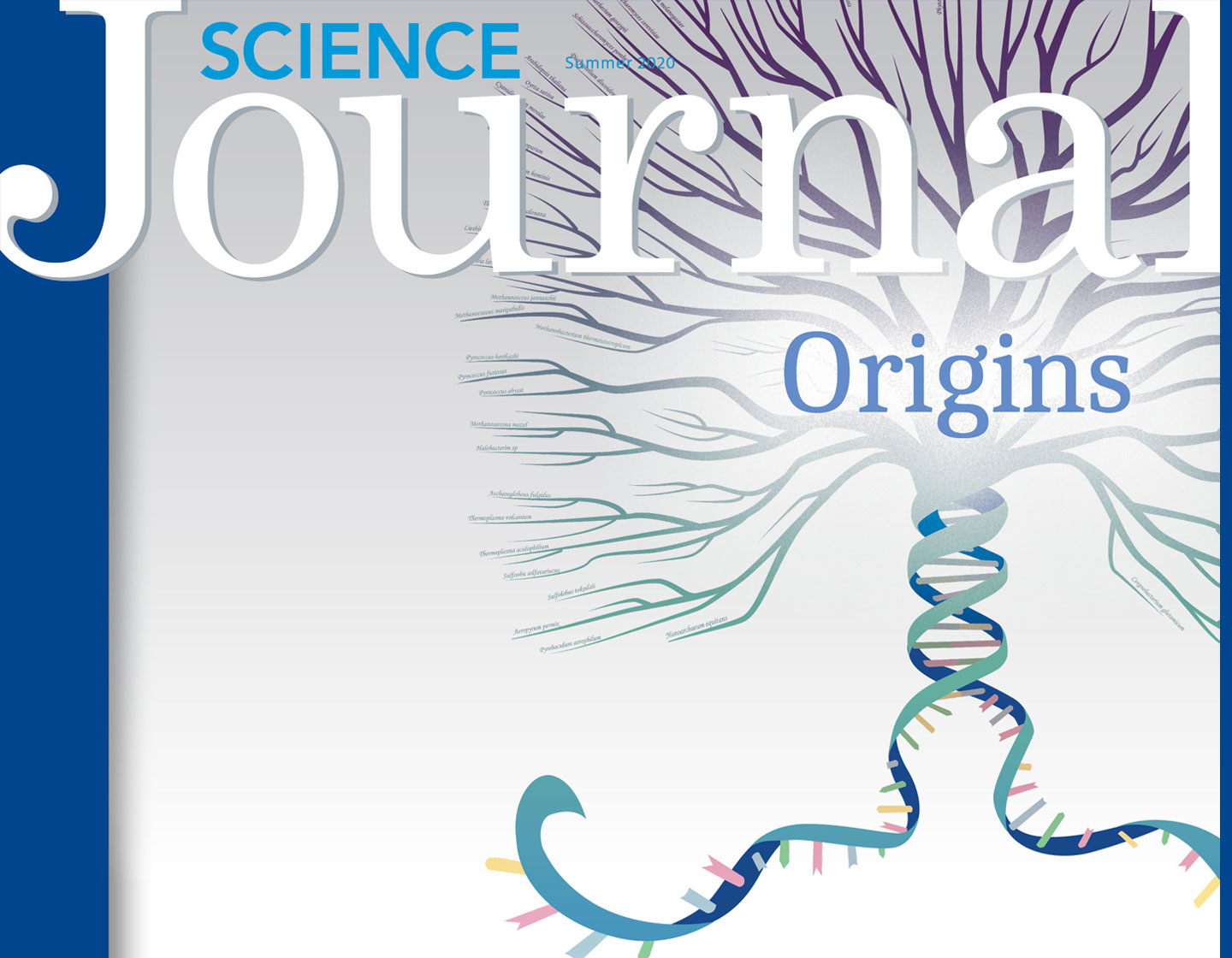 Magazine cover image with phylogenetic tree