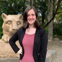 Image of Haley MacDonald posing in front of the Penn State Lion Shrine