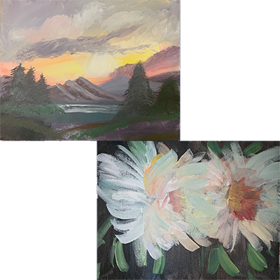 Paintings of a beautiful sunset over high rising mountains and beautiful white flowers painted by Kelly Rios