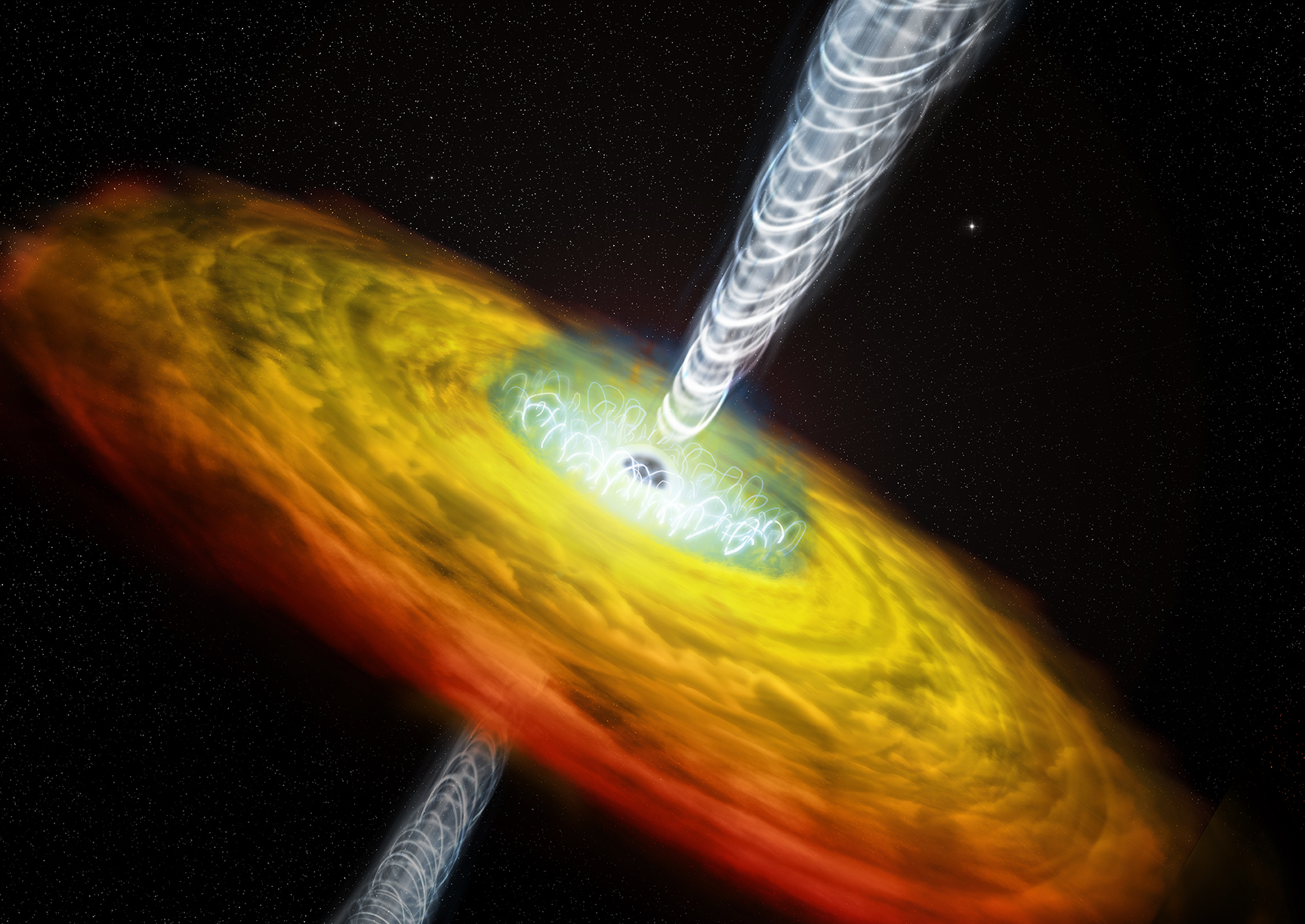 Illusttration of supermassive black hole with coronoa and jets