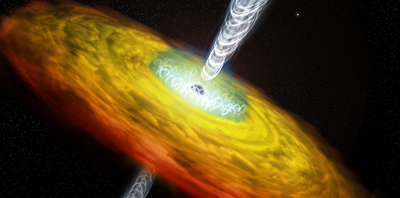 Illustration of supermassive black hole with corona and jets