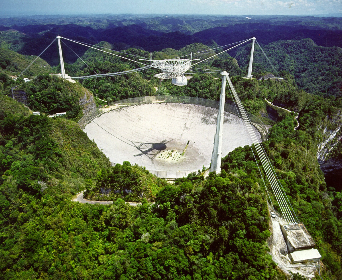 The Arecibo Observatory in Puerto Rico, used by Alex Wolszczan in his co-discovery of the first exoplanets in 1992. Credit: NAIC Arecibo Observatory, a facility of the NSF