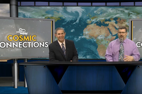 Neese and Palma on Weather World set