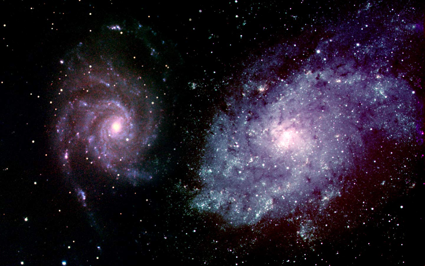 Images of galaxies m33 and m101 in this composite image.