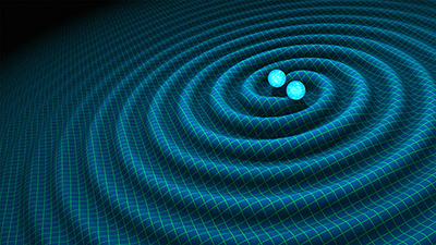 Artist impression of gravitational waves generated by binary neutron stars. Credit: R. Hurt, Caltech/JPL