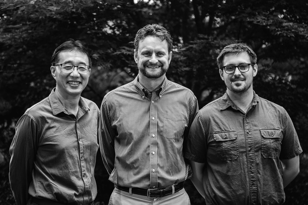 Gang Ning, director of Penn State's Microscopy Facility (left), Todd LaJeunesse, associate professor of biology at Penn State (middle), and Drew Wham, a former graduate student in LaJeunesse's lab, have been selected to receive the 2017 Tyge Christiansen Prize by the International Phycological Society.