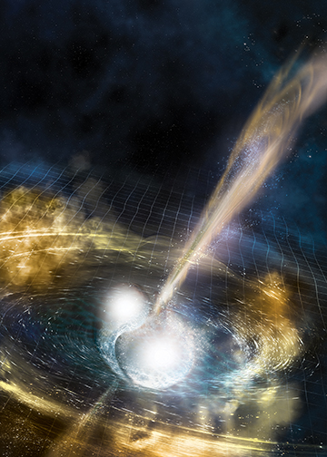 Illustration of two merging neutron stars. The rippling space-time grid represents gravitational waves that travel out from the collision.  Credit: National Science Foundation/LIGO/Sonoma State University/A. Simonnet