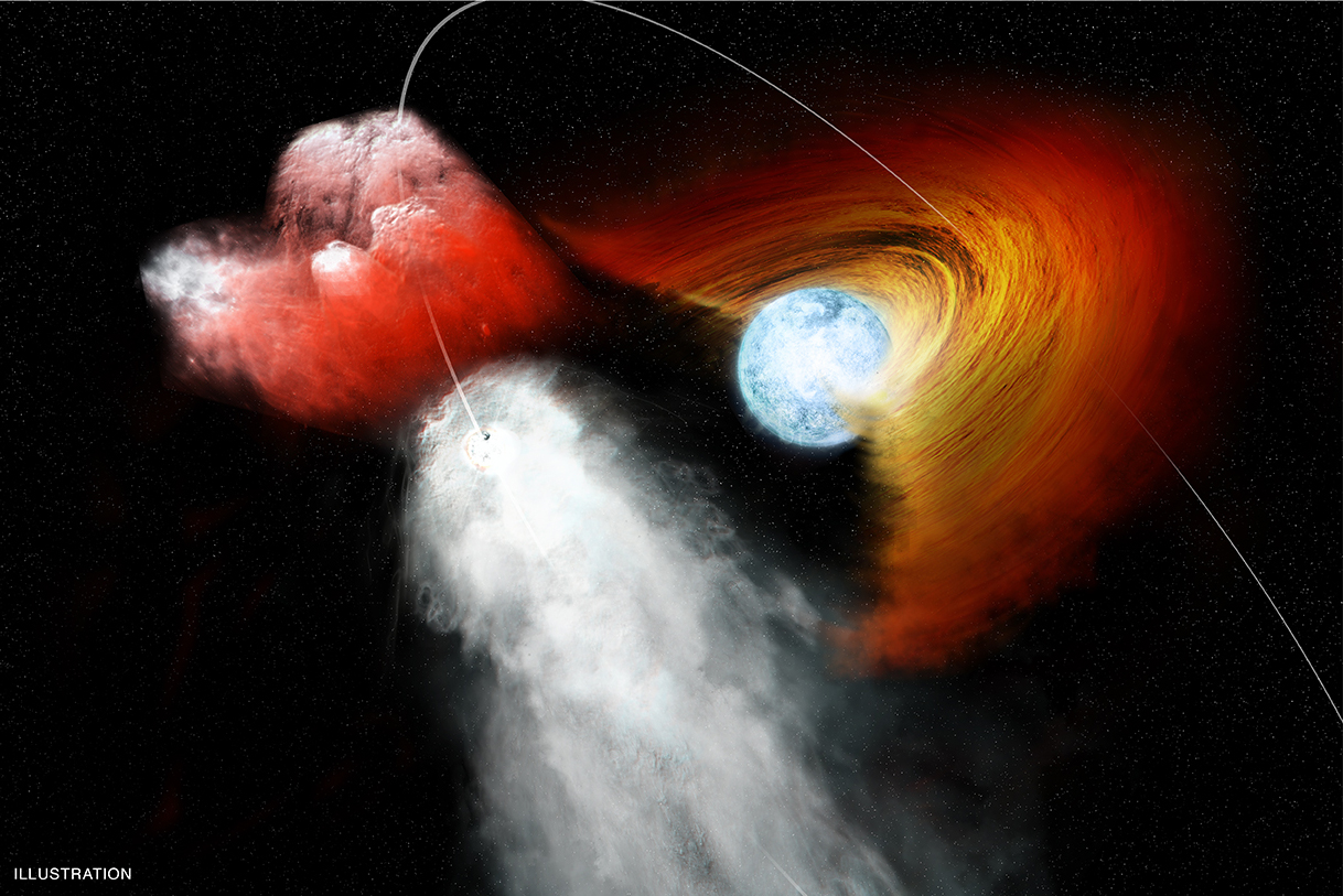 Illustration of a high-mass X-ray binary system made up of a compact, incredibly dense neutron star paired with a massive normal supergiant star. New data from NASAs Chandra X-ray Observatory shows that the neutron star in the high-mass X-ray binary, OAO 1657-415, passed through a dense patch of stellar wind from its companion star, demonstrating the clumpy nature of stellar winds. Credit: NASA/CXC/M.Weiss