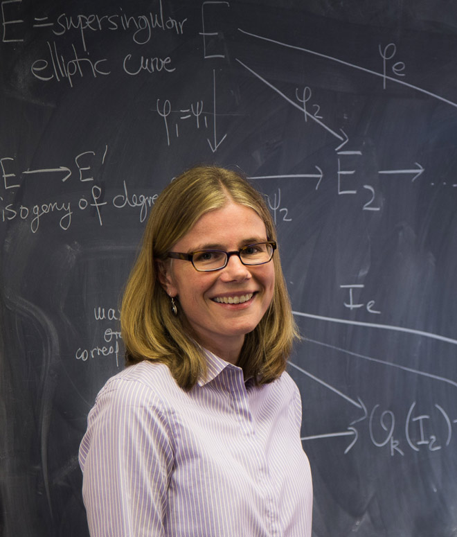 Mathematics professor Kirsten Eisenträger in front of a chalkboard.
