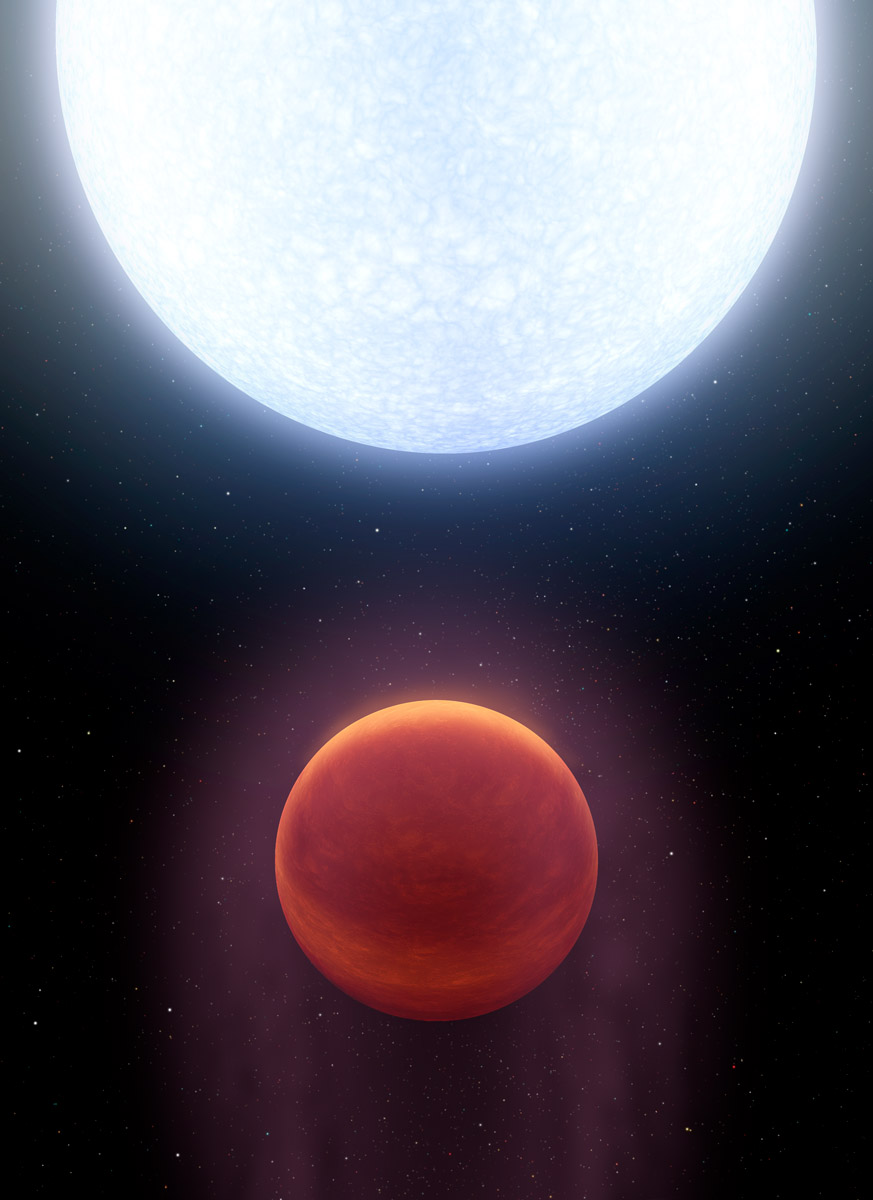 A newly discovered Jupiter-like world is so hot that even its nights are like the flame of a welding torch. Planet KELT-9b is hotter than most stars. With a day-side temperature of more than 7,800 degrees Fahrenheit (4,600 Kelvin), it is only about 2,000 degrees Fahrenheit (1,200 Kelvin) cooler than our own sun. Credit: R. Hurt (IPAC), NASA/JPL-Caltech