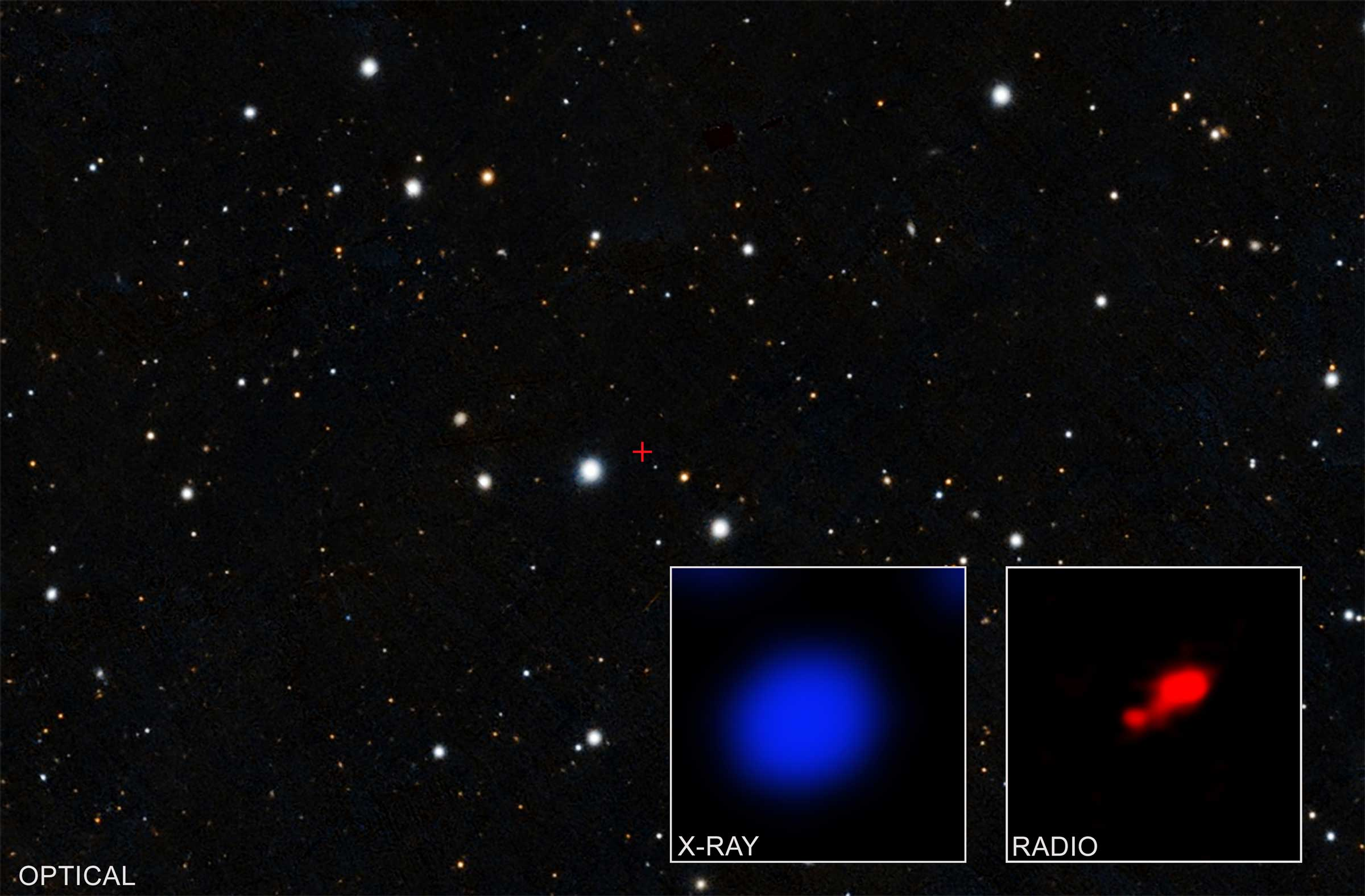 field of stars with x-ray data inset