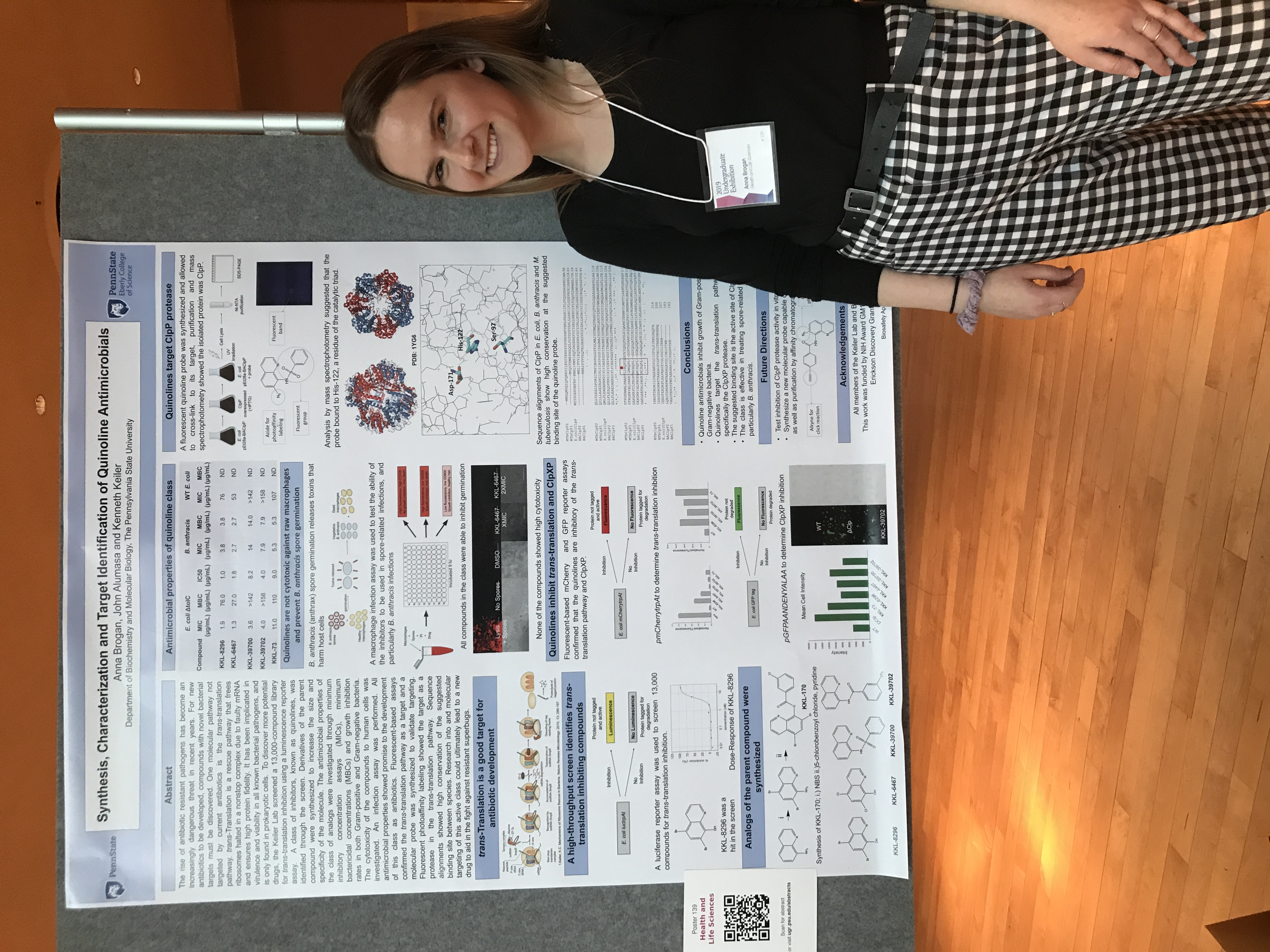 Image of Anna Brogan presenting her research at the Undergraduate Research Exhibition at Penn State