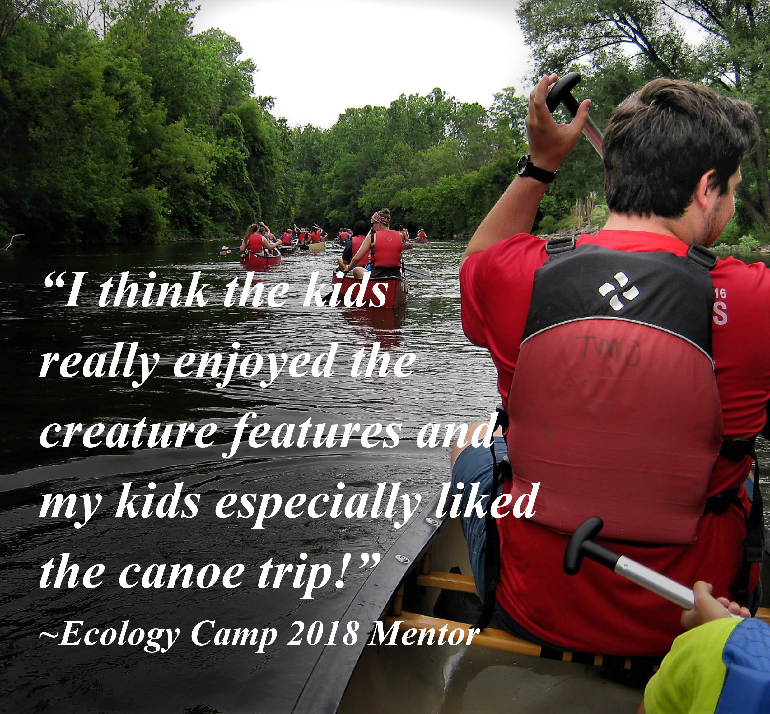 I think the kids really enjoyed the creature features, and my kids especially liked the canoe trip! 2018 Ecology Camp Mentor