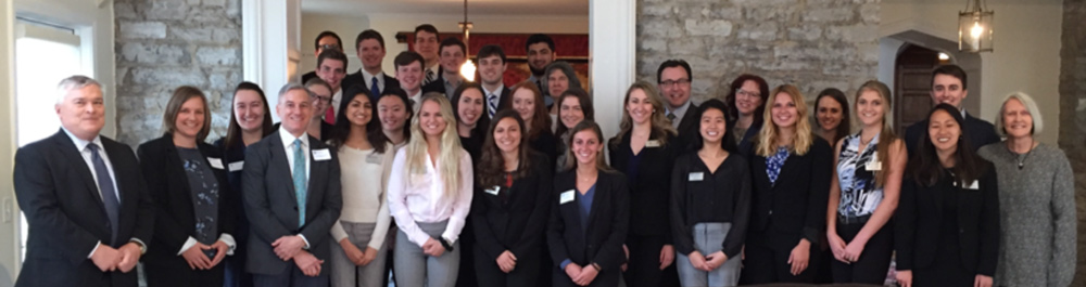 Group photo from a luncheon hosted by President and Mrs. Barron for BS/MBA students