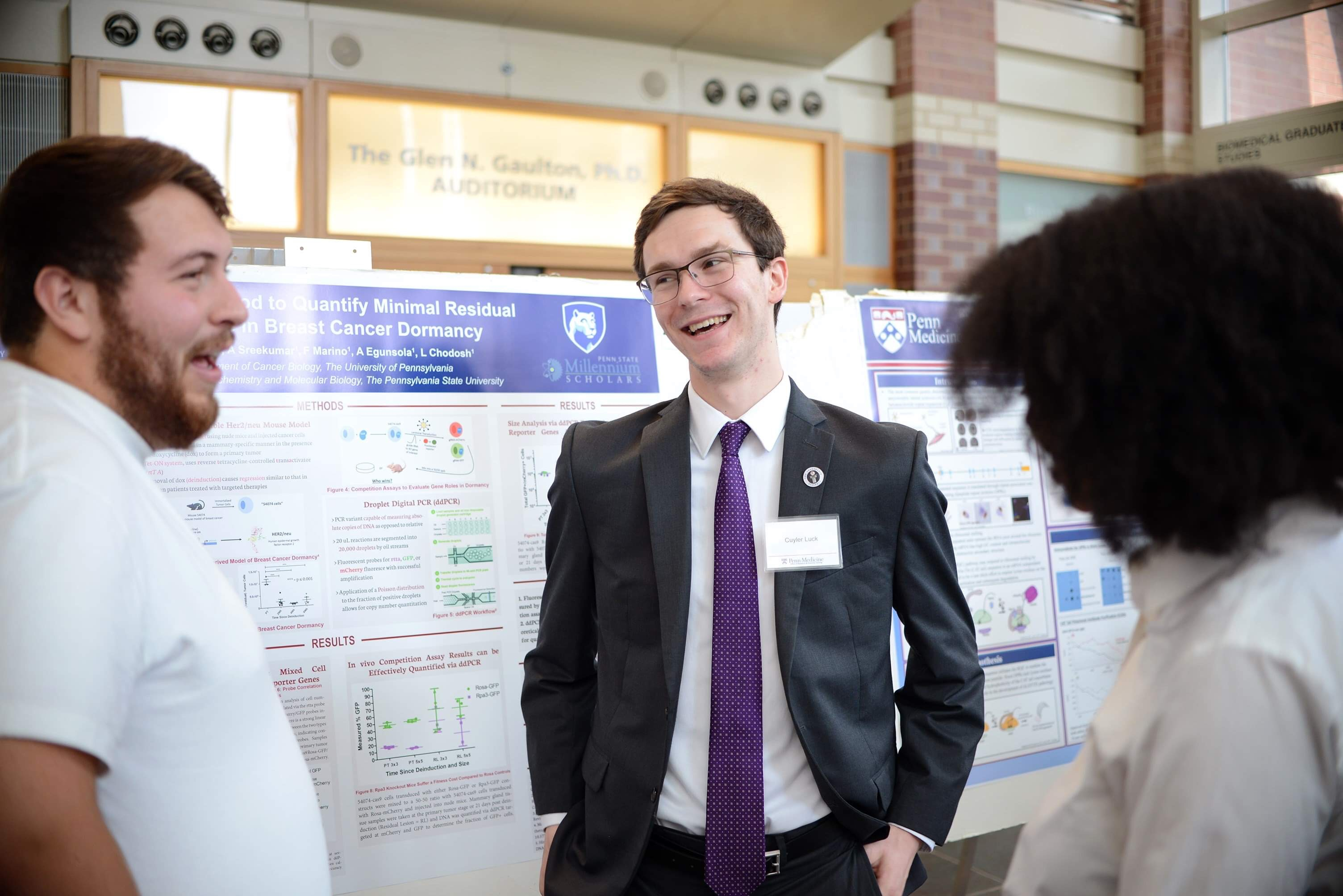 Cuyler Luck presenting his research poster at the University of Pensylvania