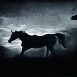 A silhouette painting of a horse