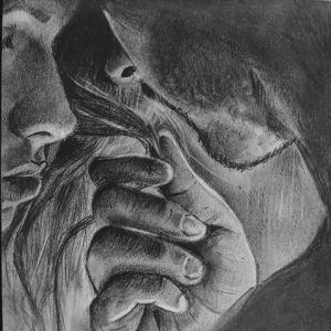 A sketch drawn by Neeraja Marathe of a man stroking a woman's hair in loving embrace