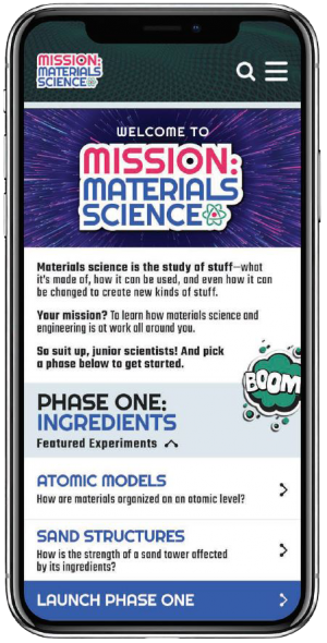 Mission: Materials Science website mobile view