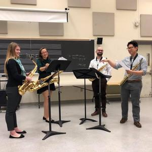 Image of Cassidy Prince taking part in a Penn State saxophone quartet
