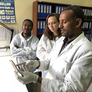 Image of Cassidy Prince working with Ethiopian scientists as part of the ENSURE Project