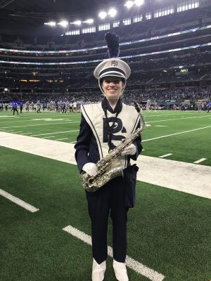 Image of Hannah Flamini in her Penn State Blue Band uniform