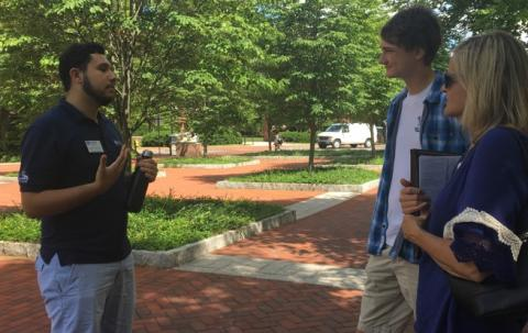 A student gives a campus tour.